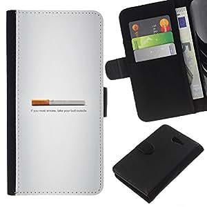 LECELL--Cuero de la tarjeta la carpeta del tirón Smartphone Slots Protección Holder For Sony Xperia M2 -- Butt fumadores - Gracioso --