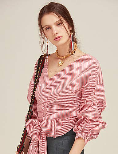 Couleur Unie YFLTZ en Blushing Coton Chemisier Femme Pink xqw1IvT