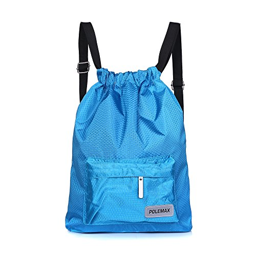 Polemax Waterproof Gym Swimming Drawstring Backpack Adjustable Dry and Wet Compartment Sport Equipment Bags with Reflection Logo Design for Adults Women Men Kids (Adjustable Backpack)
