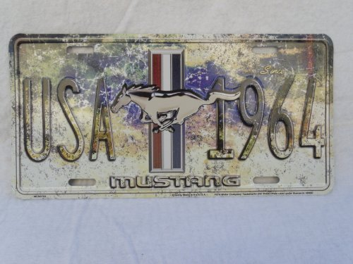 FORD MUSTANG USA SINCE 1964 LICENSE PLATE TAG PONY EMBLEM for bumper frame NEW