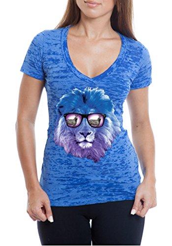 YM Wear Women's Lion Galaxy Logo Glasses with Zebra Casual Hispter Burnout V Neck T Shirt X-Large Royal - Hispter Glasses