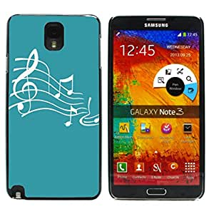 Graphic4You Music Note Pattern Design Thin Slim Rigid Hard Case Cover for Samsung Galaxy Note 3 (Turquoise)