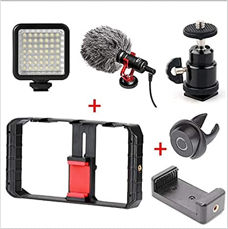 Ulanzi Smartphone Video Rig Youtube Facebook Live Stream Stabilizer W Microphone Led Light Bluetooth Remote Control For Iphone 8 Photo Studio Accessories Camera & Photo