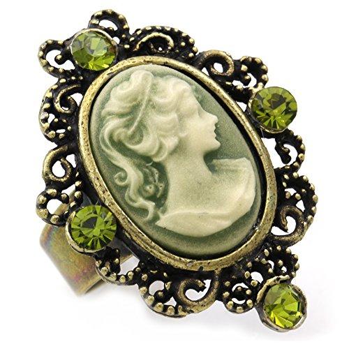 Olive Green Cameo Ring Adjusta