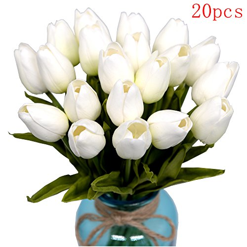 "Mandy's Silk flower Artificial flower 20pcs tulip 14"" for Wedding home & kitchen nearly natural PU white vase not include"