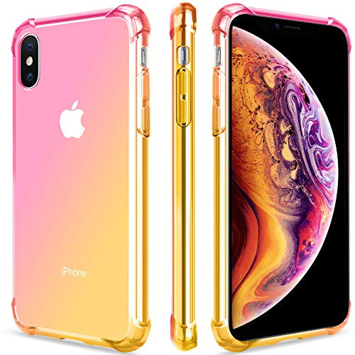 Salawat for iPhone Xs Max Case, Clear iPhone Xs Max Case Cute Gradient Slim Anti Scratch TPU Phone Case Cover Reinforced Corners Shockproof Protective Case for iPhone Xs Max 6.5inch (Pink Gold)