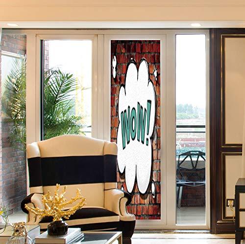 YOLIYANA Non Adhesive Window Film,Rustic Home Decor,for Window Moving Glass Door,Red Cracked Brick Wall British Backdrop UK - British Wall Bronze