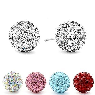 Sterling Silver Crystal Ball 6mm Stud Earrings