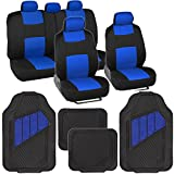 Automotive : Two-Tone PolyCloth Car Seat Covers w/ Motor Trend Dual-Accent Heavy Duty Rubber Floor Mats - Black/Blue