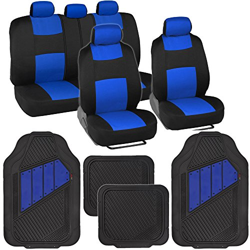 BDK Two-Tone PolyCloth Car Seat Covers w/Motor Trend Dual-Accent Heavy Duty Rubber Floor Mats - Black/Blue