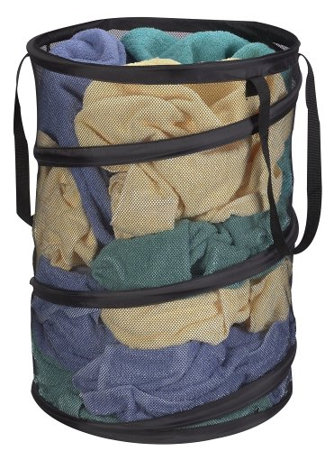 Collapsible Mesh Laundry Hamper, Black