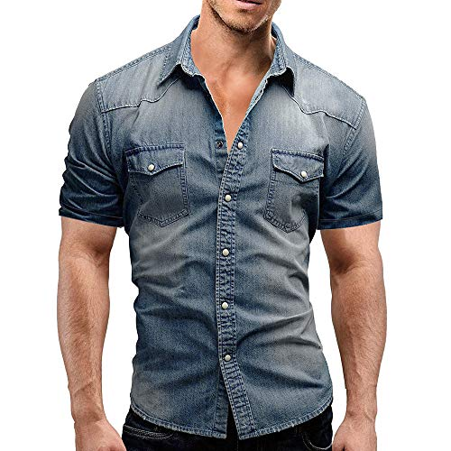 Men Short Sleeve Button Down Shirt Casual Slim Fit with Pocket Top Blouse (M, Blue) ()