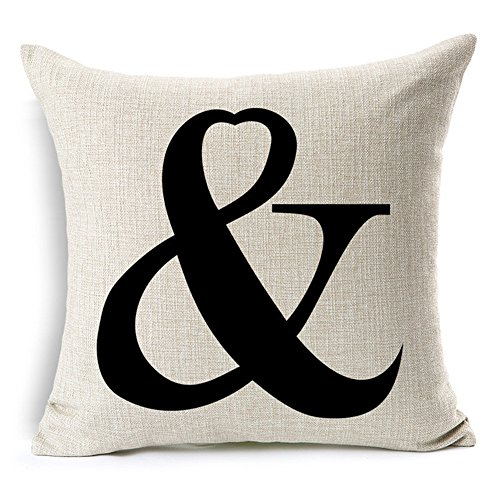 Letter Pillow (All Smiles Letter Symbol Printed Love Throw Pillow Cover Cushion Cover,18x18)