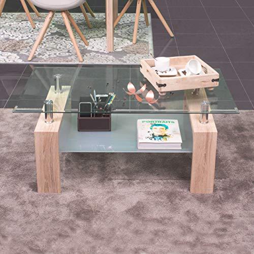 NAKURA Mesa de Centro Kenia, con revistero y Tapa de Cristal - Roble Sonoma - 100x60 cm