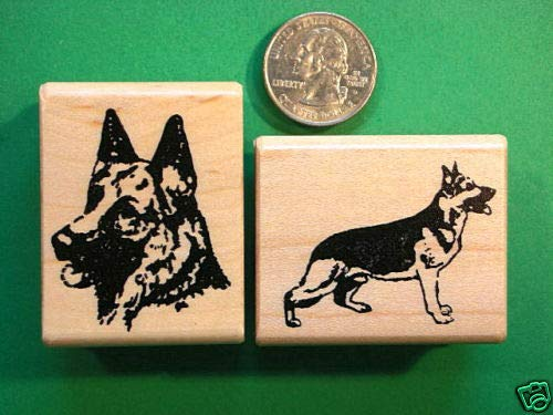 Quality Custom Rubber Stamps Two Rubber Stamps, Dogs, German Shepherds Carved Wooden Stamps