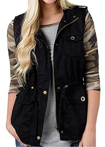 Herringbone Belted Jacket (SYTX Womens Casual Outwear Full Zip Belted Loose Vest Jacket Waistcoat Black L)