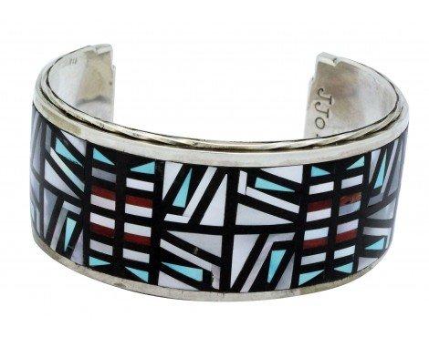 - Jonathan Othole, Bracelet, Mosaic Inlay, Multi Stone, Silver, Zuni Handmade, 7.5
