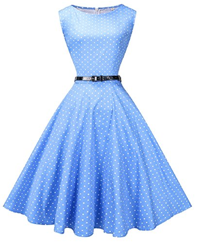 Fedie Women Boatneck Sleeveless Vintage Tea Cocktail Dress with Belt, 4X, Small Dot Light Blue ()