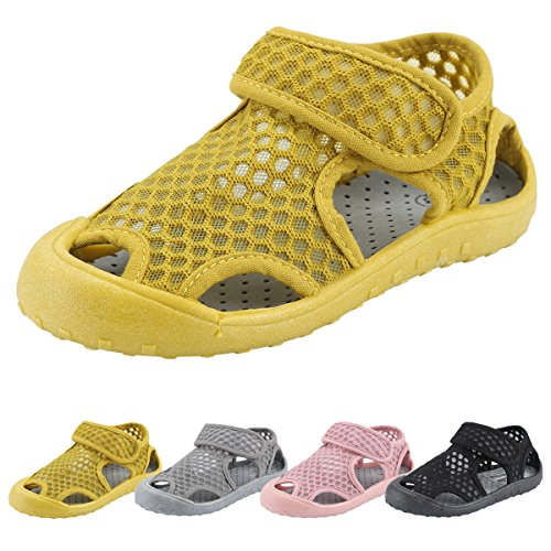 Beach Baby Boy Sandals - KUNSHOP Breathable Mesh Running Sneakers Sport Beach Sandals Hook and Loop Closed Toe Water Shoes for Kids Boy Girl Toddler Baby