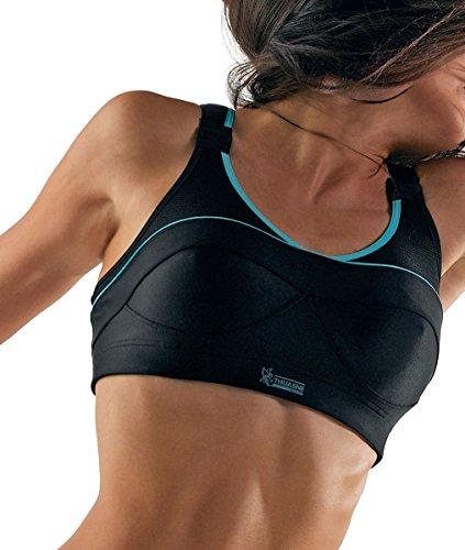 Thuasne Sport - Sujetador para mujer de espalda cruzada Negro - negro y azul