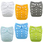 Image: LBB Reusable Baby Cloth Pocket Diapers   Antileak exterior, waterproof and breathable TPU   Waist tab overlaps for extra small waist size