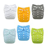 #6: ALVABABY Baby Cloth Diapers One Size Adjustable Washable Reusable for Baby Girls and Boys 6 Pack with 12 Inserts 6BM98