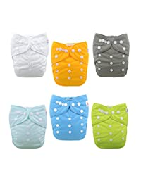 ALVABABY Baby Cloth Diapers One Size Adjustable Washable Reusable for Baby Girls and Boys 6 Pack with 12 Inserts 6BM98 BOBEBE Online Baby Store From New York to Miami and Los Angeles