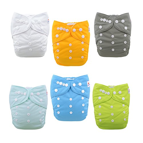 Prefold Package - ALVABABY Baby Cloth Diapers One Size Adjustable Washable Reusable for Baby Girls and Boys 6 Pack with 12 Inserts 6BM98