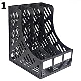 3 Compartment Magazine File Stand Holder Document Storage Desktop File Folder Organizer Stand Mesh Collection Stacking Sorter for Home Office Business Study (Black)