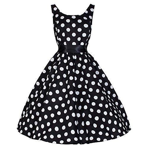 Pretty Kitty Fashion Noir Blanc Big Polka Dot robe Audrey