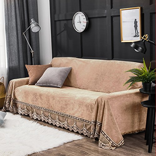 JYPHM Plush Sofa Slipcover Vintage lace Suede Couch Cover Anti-Slip Solid Color Sofa Cover Anti-Dust Stain-Proof Furniture Protector for Pet Dog & Kids 4 Seaters Khaki 200x350cm(79x138inch)