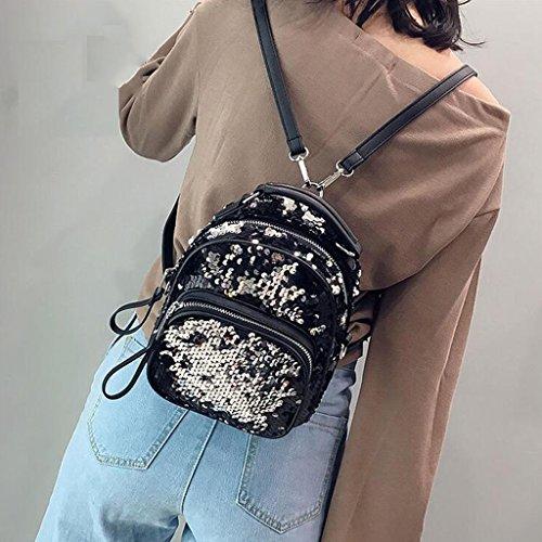 dimensioni Messenger 9 Paillettes Bag Moda Liu Pu 22cm Pelle Donna Con Borsa 18 Portatile Casual Zaino Silver In Cerniera Y44q7w6a