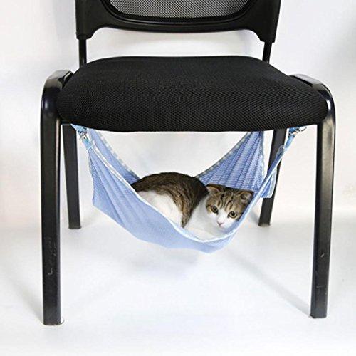 Voberry Pet Animal Cat Kitty Ventilation Net Cloth Hanging Hammock Bed Bunk Sleepy Pad Small Pet Cage Hammock (Blue, L)
