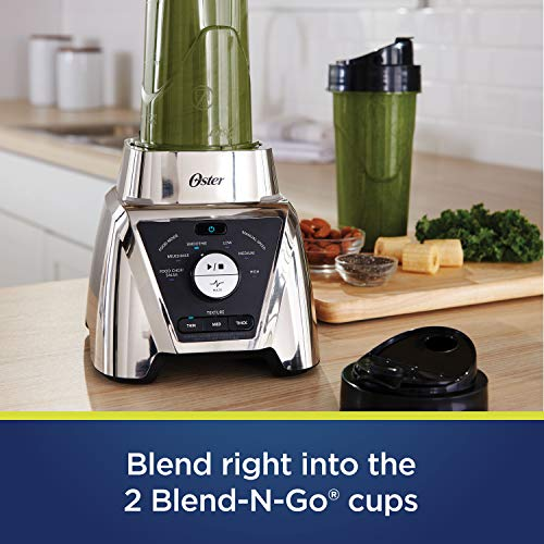 Oster BLSTTSCB2000 Texture Select Settings Pro Blender with 2 Blend-N-Go Cups and Tritan Jar, 64 Ounces, Brushed Nickel