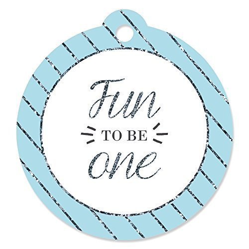 Big Dot of Happiness 1st Birthday Boy - Fun to be One - Party Favor Gift Tags (Set of 20)