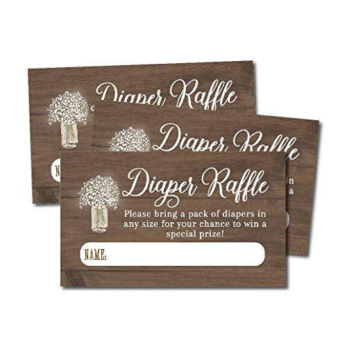 25 Rustic Diaper Raffle Ticket Lottery Insert Cards For Girl or Boy Baby Shower Invitations, Wood Floral Lights Supplies and Game For Neutral Gender Reveal Party, Bring a Pack of Diapers to Win Favors