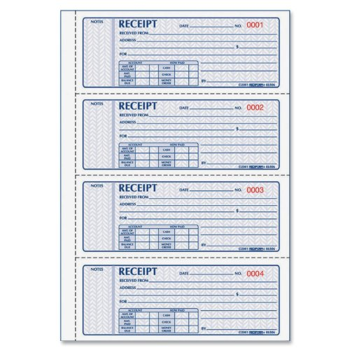 REDIFORM Money Receipt Bk,3-Part,100 Sets, Detached Size 2-3/4x7 (8L808)