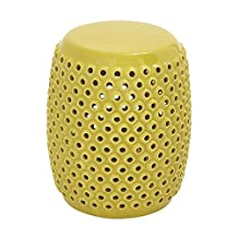 Deco 79 Ceramic Foot Stool, 14 by 18-Inch, Yellow