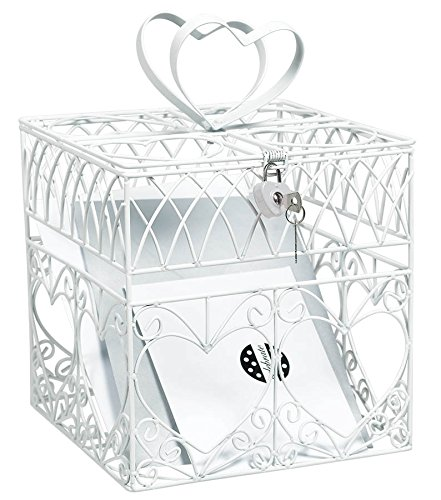Amscan Elegant Wedding Card Holder Box with Silver Glitter Hearts
