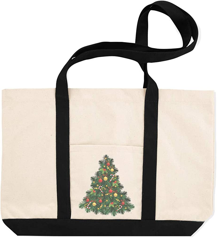 Canvas Shopping Tote Bag Christmas Tree Vintage Look F Holidays and Occasions Forest Beach for Women