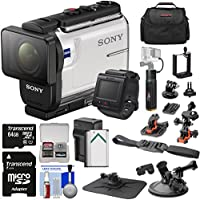 Sony Action Cam HDR-AS300R Wi-Fi HD Video Camera Camcorder & Remote + Helmet & Suction Cup Mounts + 64GB Card + Battery/Charger + Power Grip + Case Kit