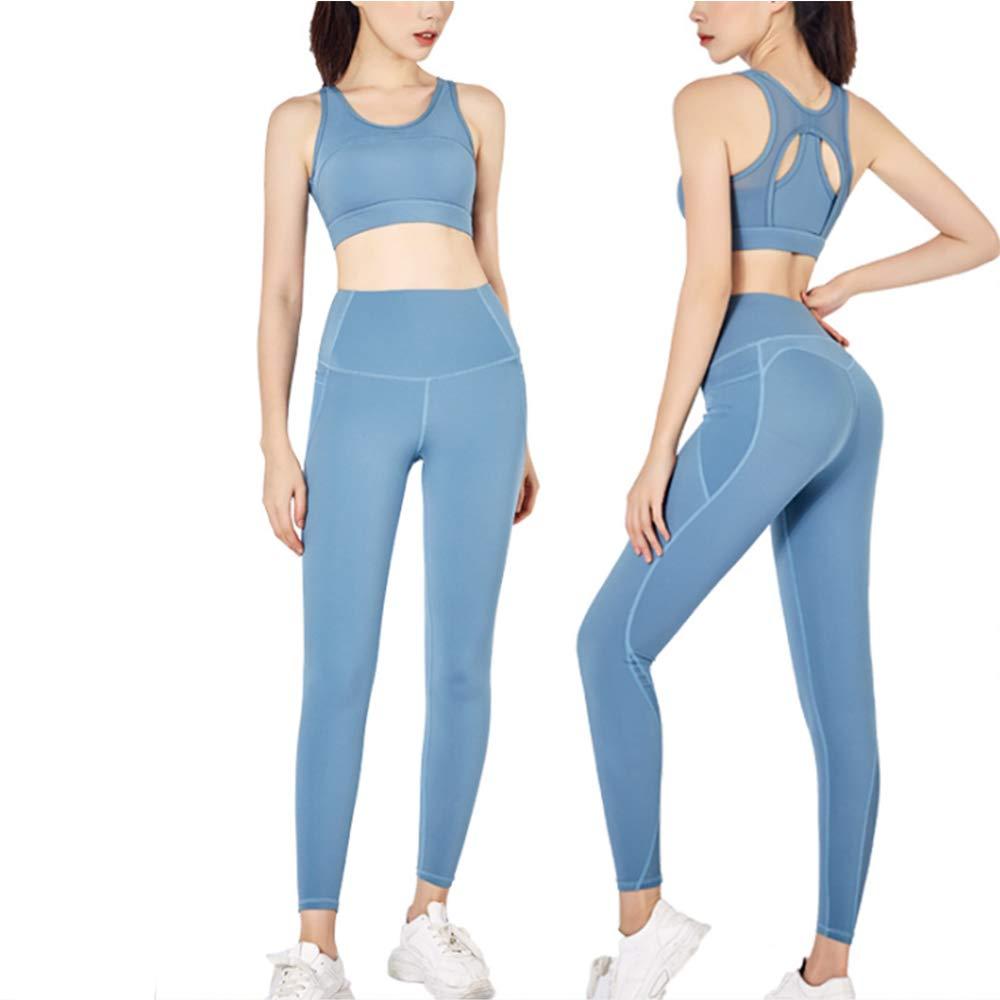 MX kingdom Yoga Wear Set, Sport Fitness Yoga Damen Sportswear Wear/Weste und Top & Leggings Stretch-Fit Yoga Gym Set Trainingsweste Damen Trainingsbekleidung Ärmellose Weste Laufhose Yoga Anzug