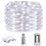 teenage girl room HSicily Fairy Lights Plug in, 8 Modes 33ft 100 LED USB String Lights with Adapter Remote Timer Waterproof Decorative Lights for Bedroom Patio Christmas Wedding Party Dorm Indoor Outdoor