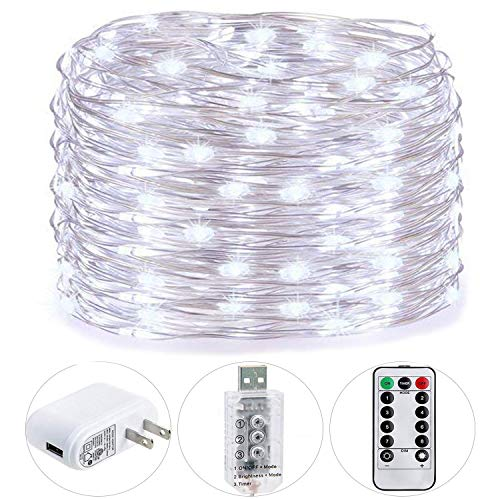 HSicily Fairy Lights Plug in, 8 Modes 33ft 100 LED USB String Lights with Adapter Remote Timer Waterproof Decorative Lights for Bedroom Patio Christmas Wedding Party Dorm Indoor Outdoor (Canopy Beds Affordable)