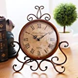 ECVISION European Style Retro Antique Retro Vintage-Inspired Wrought Iron Craft Table Clock For Hall,Shoe Cabinet,Restaurant,Bedroom Nightstand,Dresser,Garden Home Decor Desk Clock