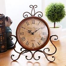 ECVISION European Style Retro Antique Retro Vintage-Inspired Wrought Iron Craft Table Clock For Hall,Shoe Cabinet,Restaurant,Bedroom Nightstand,Dresser,Garden Home Decor Desk Clock (Retro)