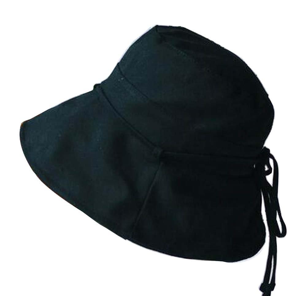 Alien Storehouse [Black] Lady Foldable Sun Hat Elegant Top Hat Dress Hat Beach Hat