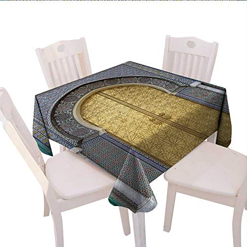 (haommhome Moroccan Burlap Tablecloth Antique Doors Morocco Gold Doorknob Ornamental Carved Intricate Artistic Outdoor Tablecloth 54