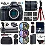 Canon EOS 5D Mark IV DSLR Camera with 24-105mm is STM Lens + Professional Battery Grip + UV FLD CPL Filter Kit + Case + Wrist Strap + Tripod + Card Reader - International Version