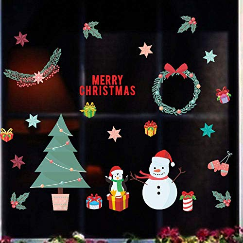 BIBITIME Merry Christmas Tree Snowman Penguin Wall Decal Vinyl Stars Gifts Branch Xmas Fruits Bowknot Wreath Sticker for Holiday Nursery Kids Room Decor Home Art PVC Murals Shop Store Window Stickers -